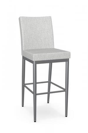 Amisco's Melrose Modern Gray Upholstered Bar Stool with Back