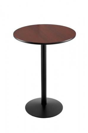 Holland's #214-16 Table with Black Base and Mahogany Round Top