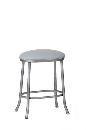 Wesley Allen's Canton Backless Oval Stool shown in Silver Bisque metal and Vinyl seat cushion