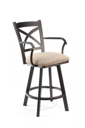 Wesley Allen's Edmonton Comfortable Swivel Barstool with Cross Back Design and Arms