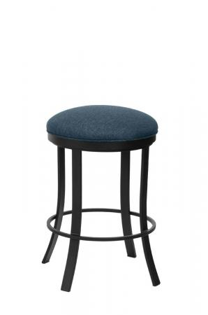 Wesley Allen's Bali Backless Swivel Bar Stool in Black Metal Finish and Blue Seat Cushion