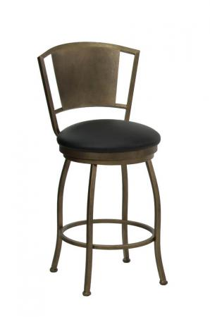 Wesley Allen's Berkeley Metal Swivel Bar Stool with Back in Brass Bisque and Black Round Seat Cushion Vinyl