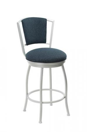 Wesley Allen's Boise Metal Swivel Upholstered Stool in Light Silver and Blue Cushion