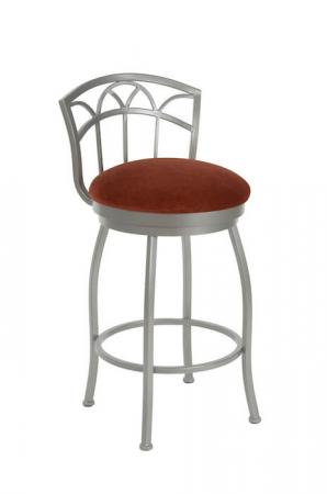 Wesley Allen's Fresno Swivel Bar Stool with Low Back in Silver Metal Finish and Red Seat Cushion