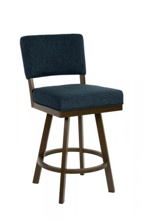Wesley Allen's Miami Upholstered Swivel Bar Stool in Expresso Metal and Blue Cushion
