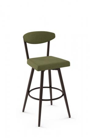 Amisco's Wilbur Scandinavian Upholstered Swivel Barstool with Bean-Shaped Back and Square Seat