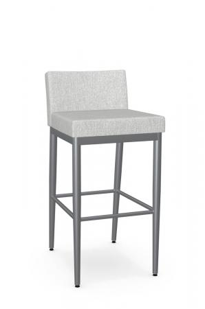 Amisco's Hanson Modern Stationary Metal Bar Stool with Low Padded Back and Seat