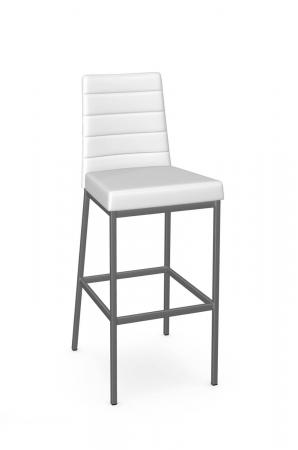 Amisco's Luna Modern Gray and White Barstool with Back