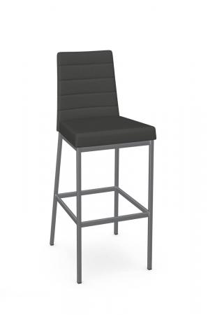 Amisco's Luna Modern Gray and Silver Bar Stool with Back