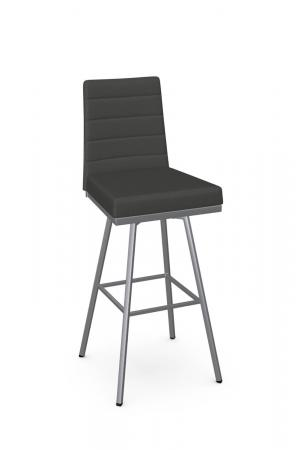 Amisco's Luna Modern Swivel Silver and Black Bar Stool with Channel Quilting on Back