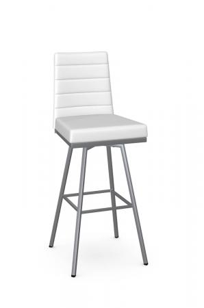 Amisco's Luna Modern Upholstered Swivel Bar Stool in White Fabric and Silver Metal Finish