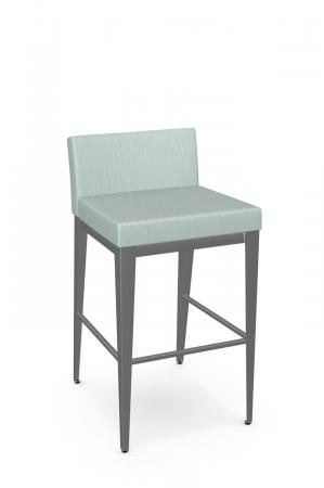 Amisco's Ethan Plus Modern Silver Square Bar Stool with Green Seat and Back