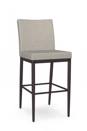 Amisco's Monroe Espresso Metal Modern Bar Stool with Light Tan Upholstered Back and Seat