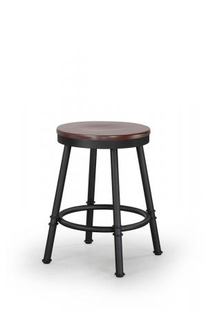 Trica's Sal Backless Swivel Metal Stool with Round Wood Seat
