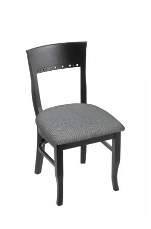 Holland's #3160 Hampton Dining Chair in Black Wood and Gray Seat Cushion