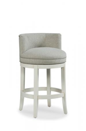 Fairfield's Cosmo Upholstered Swivel Bar Stool with Low Back and Nailhead Trim