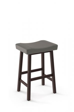 Amisco's Miller Stationary Rectangular Saddle Backless Barstool with Upholstered Seat Cushion and Metal Legs
