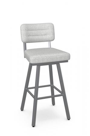 Amisco's Phoebe Swivel Silver Bar Stool with Gray and Seat and Back Cushion