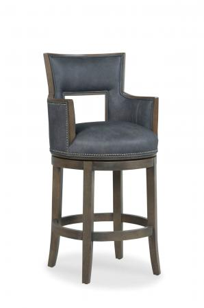 Fairfield's Sidecar Wooden Upholstered Swivel Barstool with Arms and Nailhead Trim