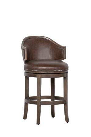 Fairfield's Gimlet Classic Brown Swivel Bar Stool with Nailhead Trim and Wing Back Design