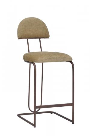 Wesley Allen's Bronx Modern Bar Stool in Copper Bisque Metal Finish and Fabric with Sled Base