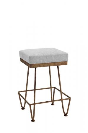 Wesley Allen's Clark Backless Bar Stool in Brass Bisque Metal and Gray Seat Cushion