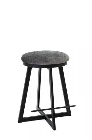 Wesley Allen's Harrison Backless Black Unique Bar Stool with X-Base and Round Seat