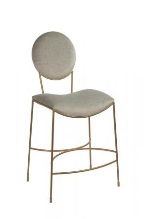 Wesley Allen's Jamestown Modern Brown Comfortable Bar Stool with Oval Back, Saddle Seat, and In Opaque Copper Metal Finish