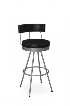 Amisco's Umbria Silver Modern Bar Stool with Black Seat and Back Cushion