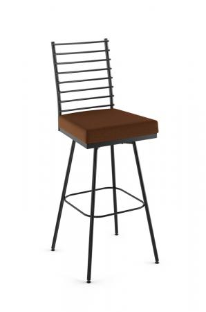Amisco's Lisia Industrial Swivel Bar Stool with Seat Cushion and Ladder Back Design