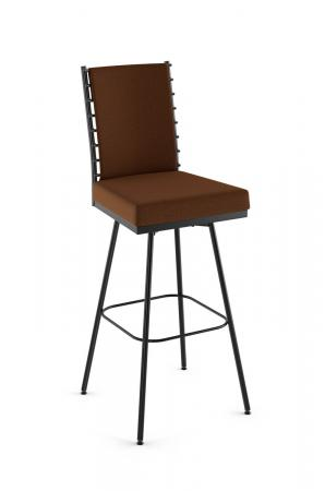 Amisco's Lisia Upholstered Swivel Bar Stool with Padded Back and Padded Seat