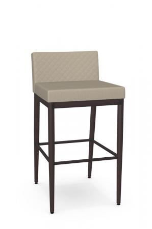 Amisco's Hanson Plus Modern Comfortable Stationary Bar Stool in Espresso and Quilted Back