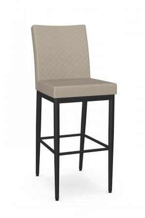 Amisco's Melrose Modern Black Bar Stool with Tan Quilted Back and Seat