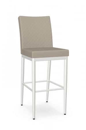 Amisco's Melrose Quilted Upholstered Bar Stool in Light Tan and White Metal Finish