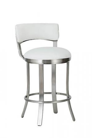 Wesley Allen's Bali Swivel Bar Stool with Low Back shown in Stainless Steel metal finish and White seat and back cushion