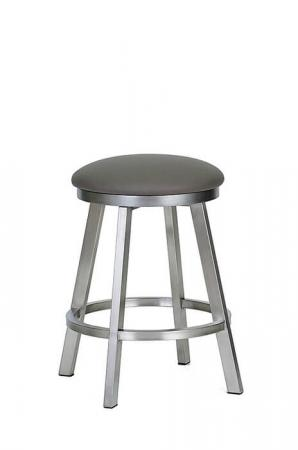 Wesley Allen's Edmonton Backless Swivel Bar Stool in Stainless metal with Round Seat Cushion