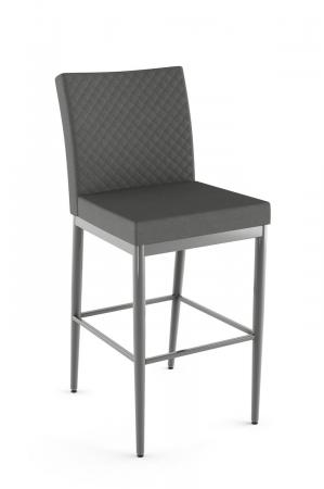 Amisco's Monroe Upholstered Modern Stool with Quilted Back in Gray
