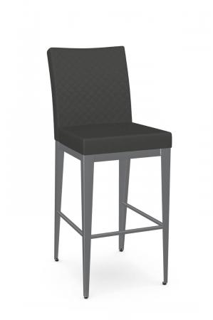 Amisco's Pablo Modern Stationary Bar Stool in Gray and Silver
