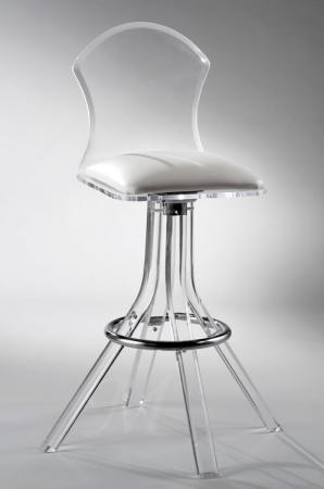 Muniz Aspen Mushroom Acrylic Swivel Bar Stool with Back and White Seat Cushion