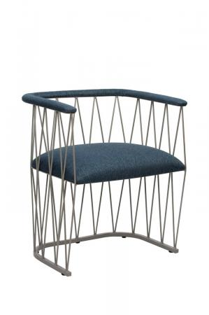 Wesley Allen's Ludwig Modern Metal Arm Chair with Seat and Back Cushion in Blue and Silver