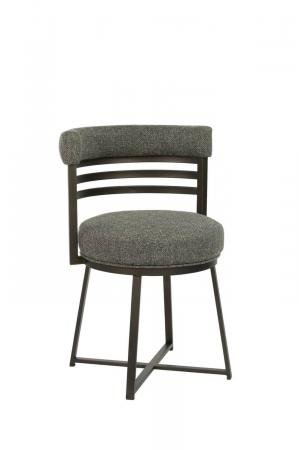 Wesley Allen's Miramar Dining Chair with Curved Upholstered Back, Round Seat Cushion, Metal Frame, and X Base