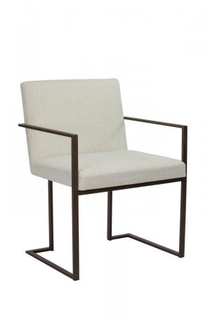 Wesley Allen's Marzan Modern Upholstered Dining Chair with Arms, Metal Frame, and Sled Base