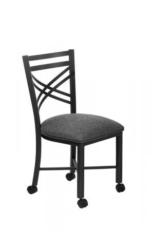 Wesley Allen's Raleigh Black and Gray Metal Dining Chair with Casters/Wheels on Feet