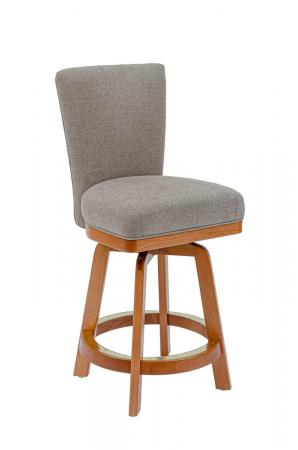 Darafeev's #917 Upholstered Swivel Counter Stool in Natural Wood