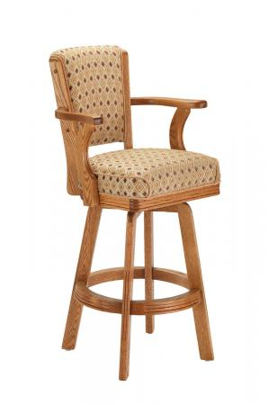 Darafeev's #610 Wooden Upholstered Swivel Bar Stool with Arms in Honey Oak Finish
