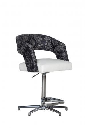 Fairfield's Bryant Adjustable Swivel Upholstered Bar Stool with Curved Back and Nickel Metal Base