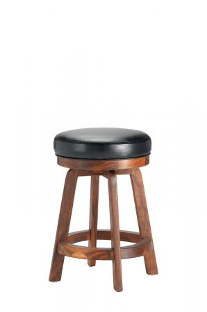 Darafeev's 865 Walnut Wooden Backless Stool with Black Round Seat Cushion