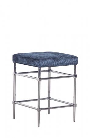 Fairfield's Jessup Backless Counter Stool with Square Seat Cushion in Blue and Nickel Metal Base