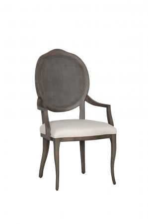 Fairfield's Ava Wooden Upholstered Dining Chair with Arms and Oval Back