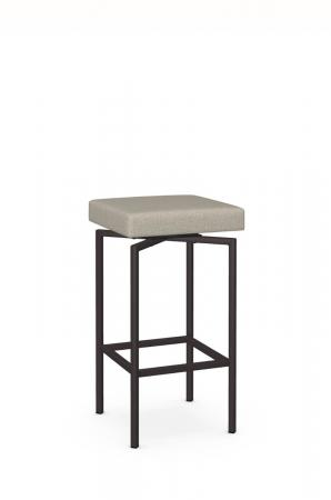 Amisco's Atlas Backless Swivel Barstool with Square Seat Cushion and Metal Base